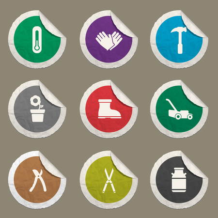 ladder  fence: Garden tools sticker icons for web Illustration