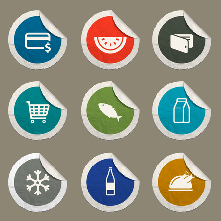 hot dog label: Grocery sticker icons for web