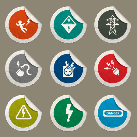 electricity danger of death: High voltage sticker icons for web Illustration