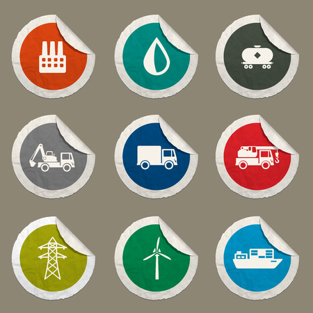 power delivery: Industrial sticker icons for web