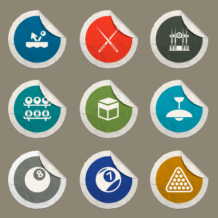 cues: Billiards  sticker icons for web Illustration