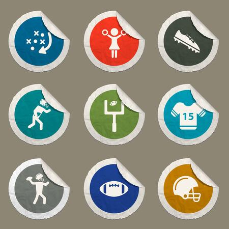 porrista: iconos etiqueta de f�tbol americano para web Vectores