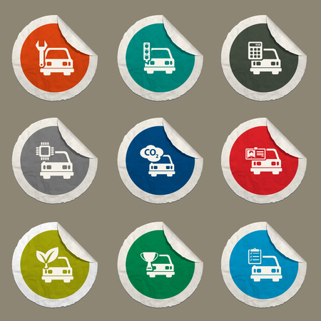 calculus: Car service  sticker icons for web