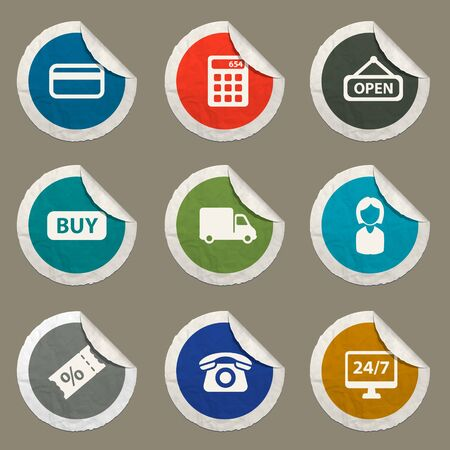 shopping questions: E-commerce sticker icons for web