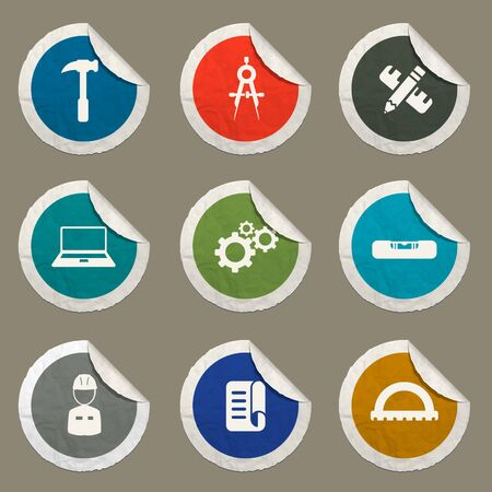 jumpsuit: Engineering sticker icons for web Illustration