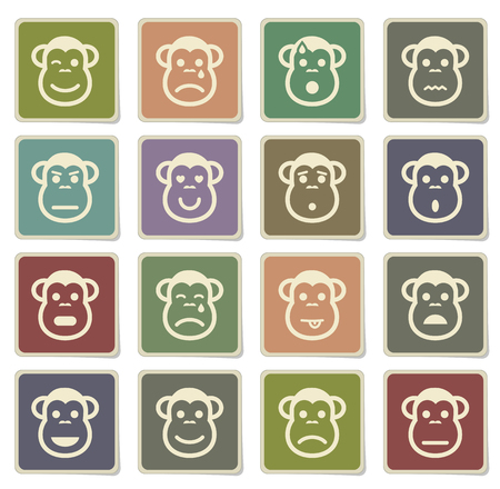 skepticism: Monkey emotions label icons for web