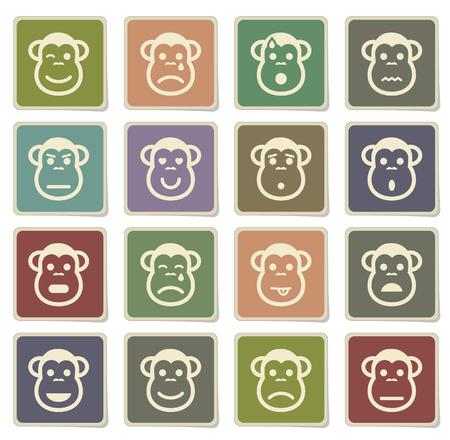 desconfianza: Mono de los iconos emociones de etiqueta para web Vectores