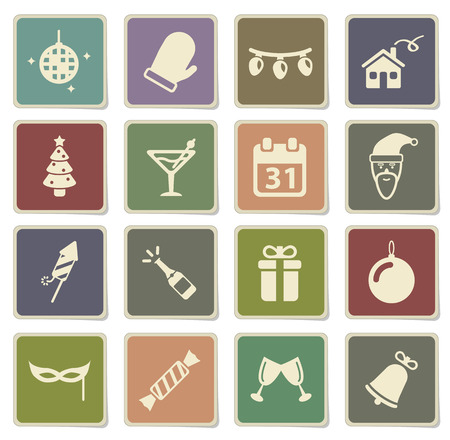champagne pop: New year label icons for web Illustration