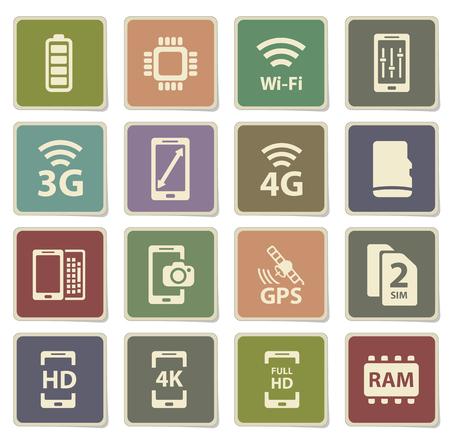 carnero: Iconos de las caracter�sticas de la etiqueta Smarthone para web