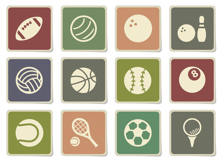 the football player: Iconos de las bolas del deporte de la etiqueta para el Web