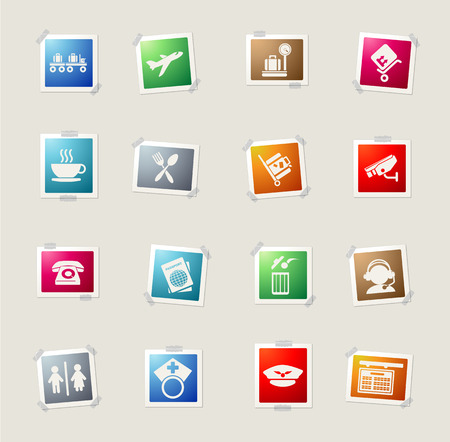 travel locations: Airport card icons for web
