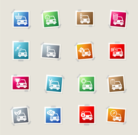measuring cup: Car service card icons for web