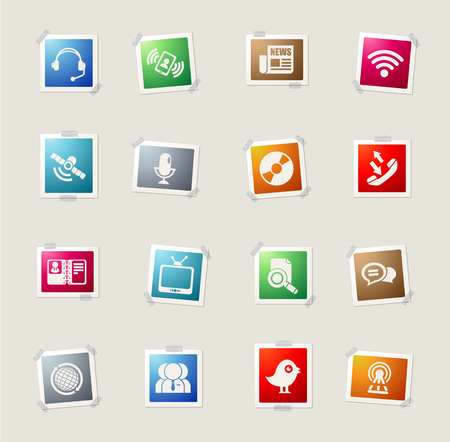 wireless tower: communication card icons for web