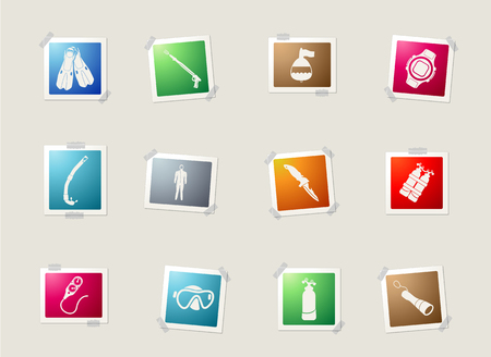 store icon: Diving card icons for web Illustration