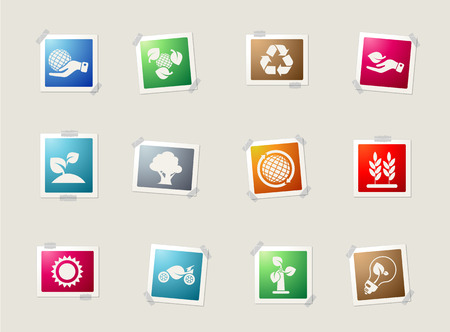 sun energy: Ecology card icons for web