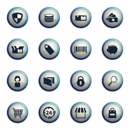 chrome: E-commerce chrome icons for web Illustration