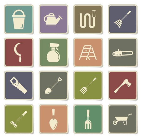 pulverizer: Garden tools label icons for web