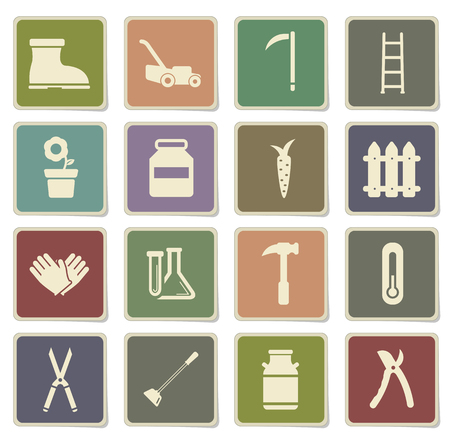 ladder  fence: Garden tools label icons for web