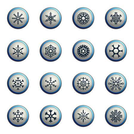 snowfalls: Snowflakes chrome icons for web Illustration