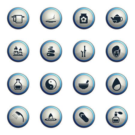 medical shower: Spa chrome icons for web Illustration
