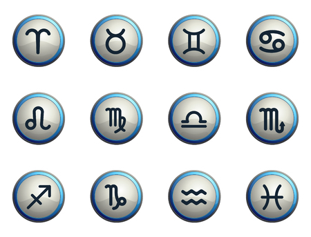 zodiacal sign: Zodiac chrome icons for web