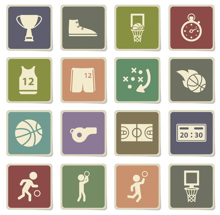 slam dunk: Basketball label icons for web