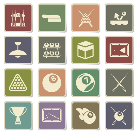 cues: Billiards label icons for web