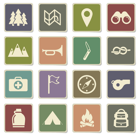 binoculars view: Boy scout label icons for web Illustration