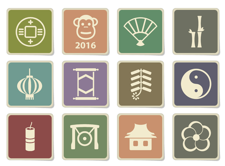 fortuna: Chinese New Year label icons for web Illustration