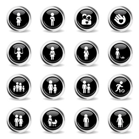 oldman: Family chrome icons for web Illustration