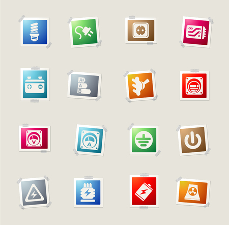 hydroelectric power station: Electricity card icons for web