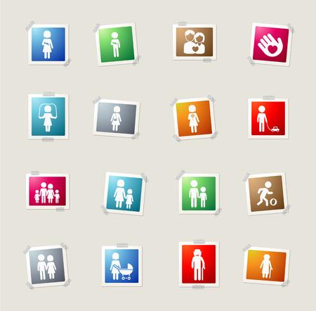 oldman: Family card icons for web Illustration