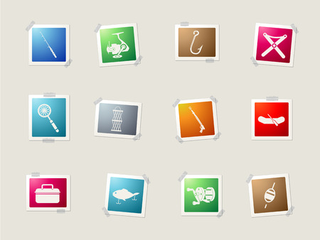 commercial painting: Fishing card icons for web Illustration