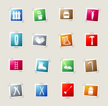 ladder  fence: Garden tools card icons for web