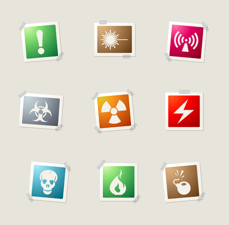 vector skull danger sign: Hazard Sign card icons for web