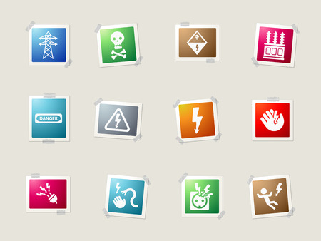 electricity danger of death: High voltage card icons for web Illustration
