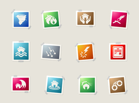 hailstone: Home Insurance card icons for web Illustration