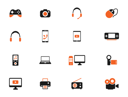 portable console: Gadgets simply icons for web Illustration