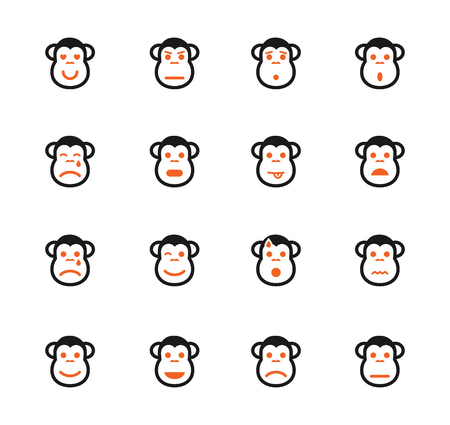 distrust: Monkey emotions simple icons for web