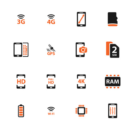 smarthone: Smarthone specs simple icons for web Illustration