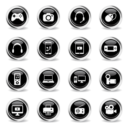 portable console: Gadgets chrome icons for web Illustration