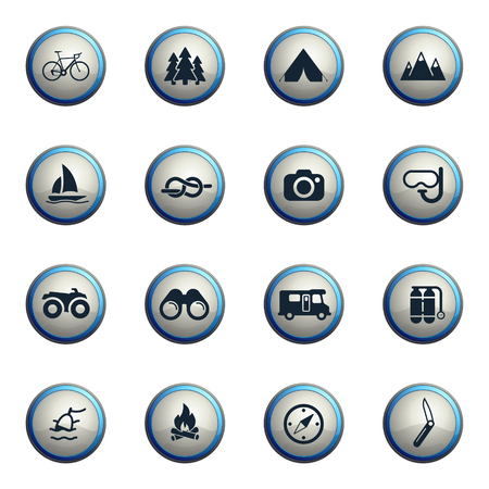 recreation: Active recreation chrome icons for web Illustration