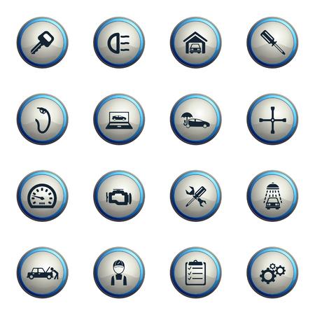 car mechanic: Car service chrome icons for web