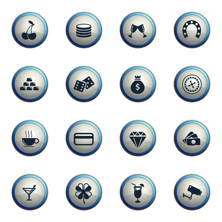 roulette player: Casino chrome icons for web Illustration