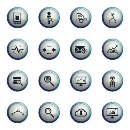 analytic: Data analytic chrome icons for web Illustration
