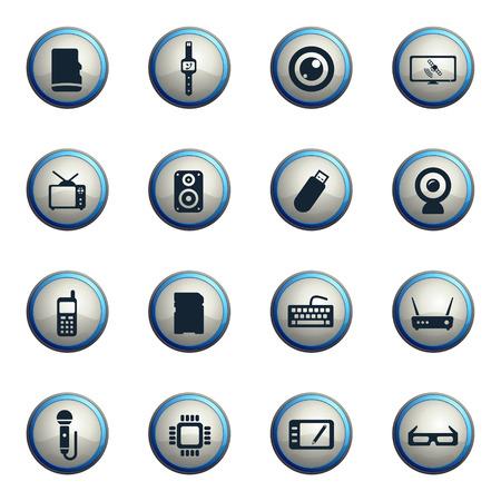 satellite tv: Gadgets chrome icons for web Illustration