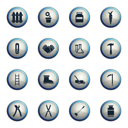 ladder  fence: Garden tools chrome icons for web Illustration