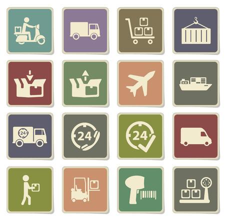 motor de carro: Iconos de la etiqueta de entrega para web Vectores