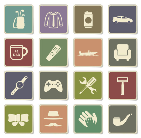day: Fathers day label icons for web