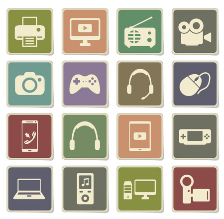 portable console: Gadgets label icons for web Illustration